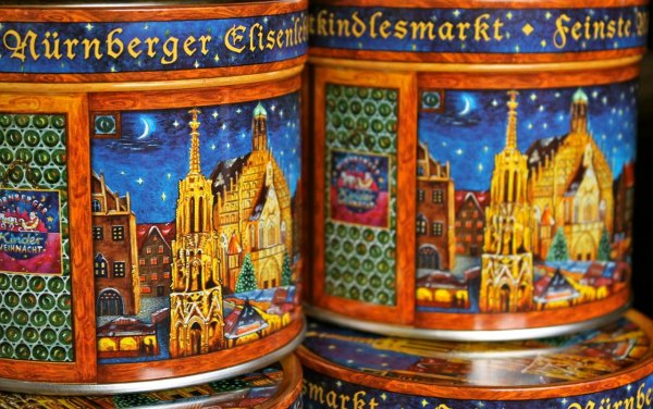 Gingerbread collector's tins from the Nurembergn Christmas Market in Bavaria, Germany