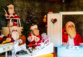 Santa Clause Figures at a Christmas Market in Munich, Germany