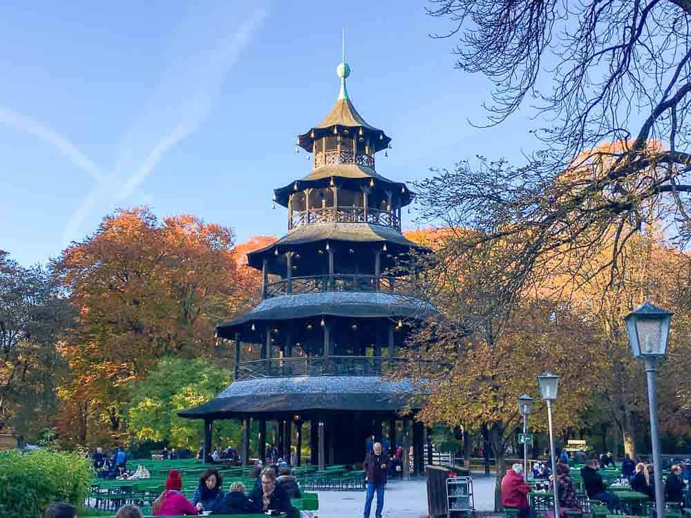 The chinese Tower is a popular beer garden in Munich, Germany
