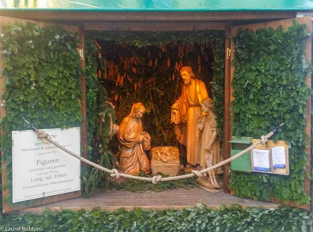 Life-size hand-carved manger scene from a craftsman in Oberammergau, a region in Bavaria, Germany