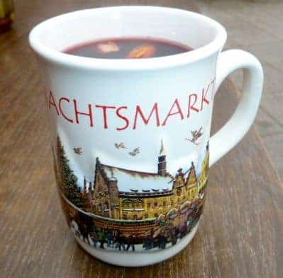 gluehwein (mulled wine), a popular holiday drink at German Christmas markets