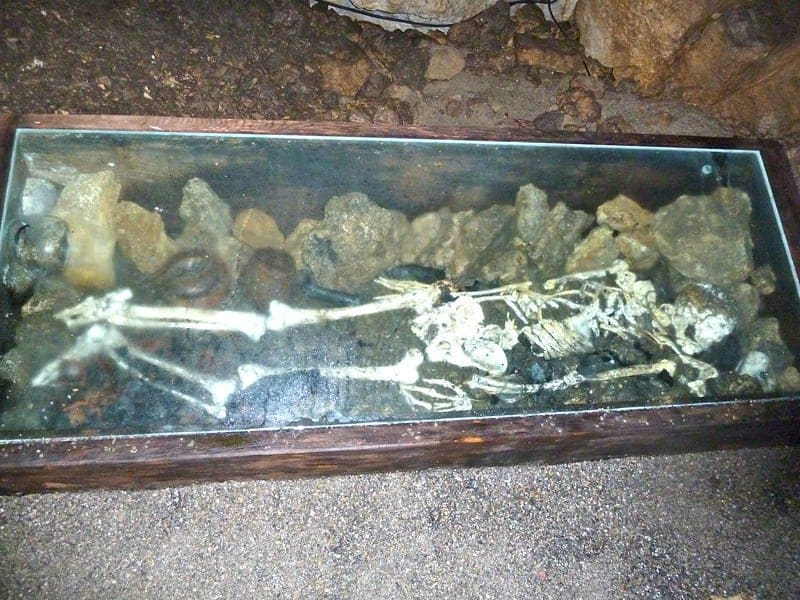 The skeleton is a reminder that Bear Cave used to be used as a mass grave