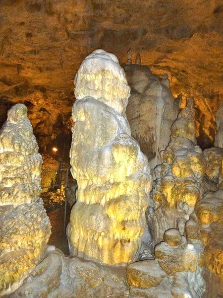 Huge stalagmite formations were a highlight of Bear Cave located inin Baden-Württemberg, Germany