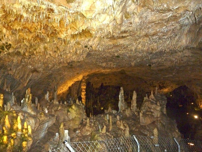 Stalagmite and stalactite formations in Bear Cave located in Sonnenbühl in the Swabian Alps