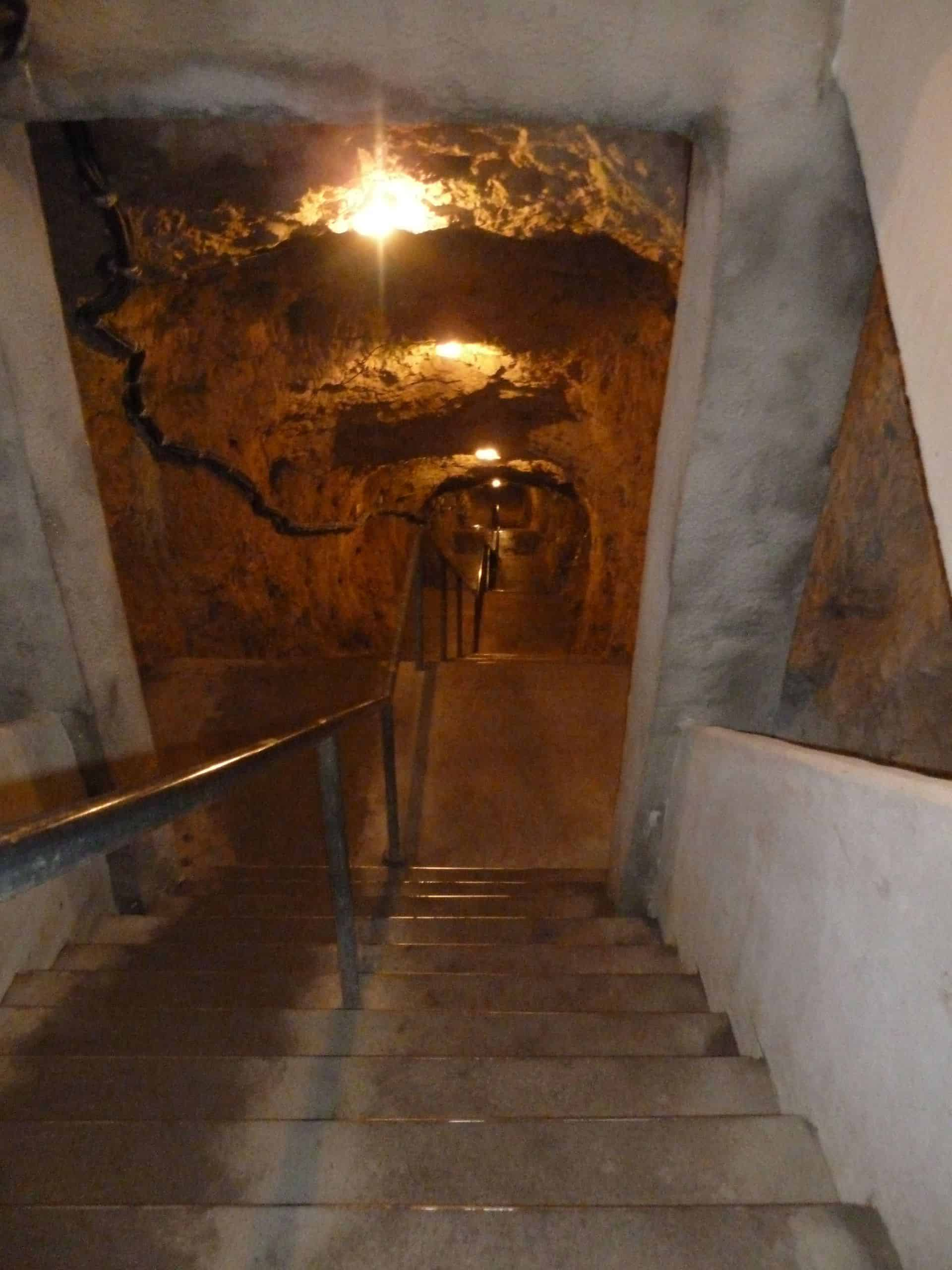 Steep set of stairs leads to Fog Cave in Baden-Württemberg