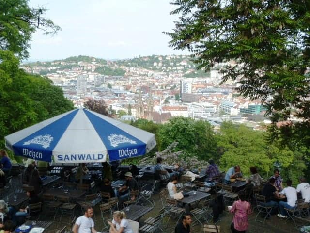 View of Stuttgart from the Beer Garden above the Lapidarium in Baden-Württemberg, Germany