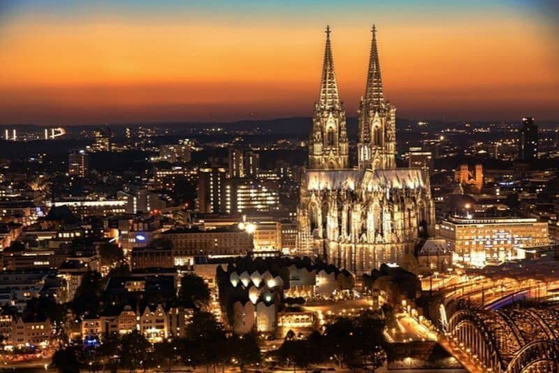 The city of Cologne seen at sunset